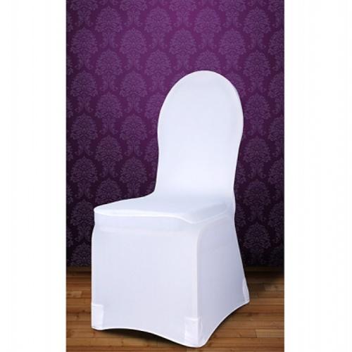 Poťah na stoličku elastický biely ľahšia tkanina