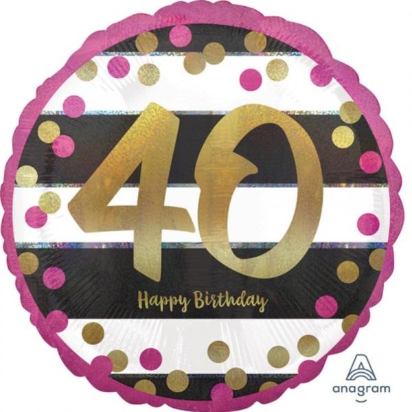 BALÓNIK guľatý 40.narodeniny ružovozlatý