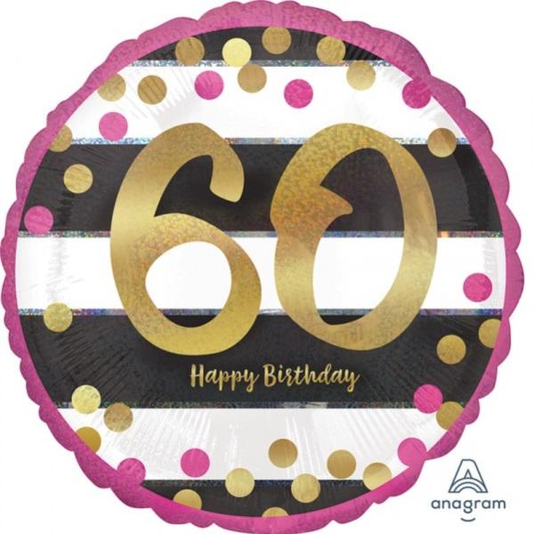 BALÓNIK guľatý 60.narodeniny ružovozlatý