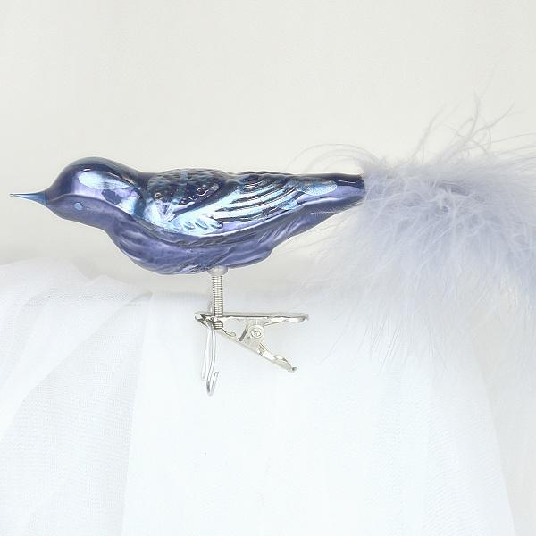 OZDOBA VIANOČNÁ Tmavo modrý porcelán vták veľký