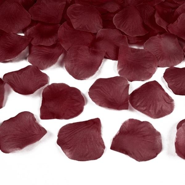 Okvetné lístky ruží textilné bordó