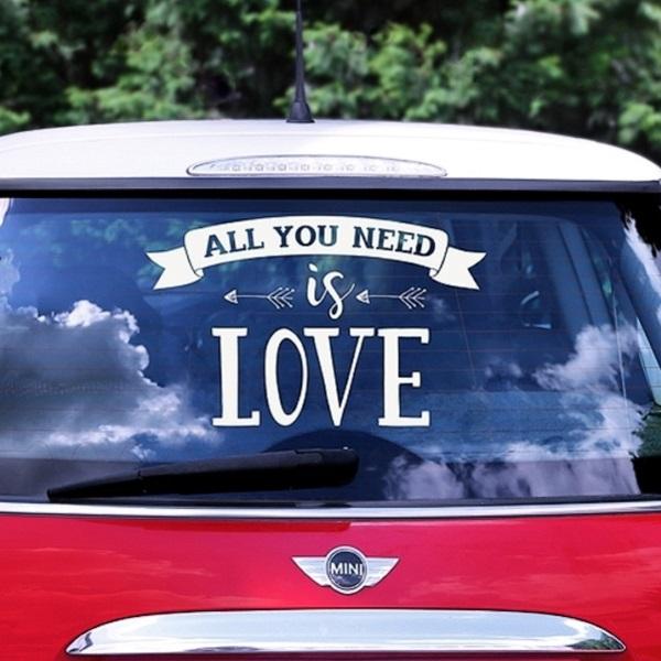 """SAMOLEPKA na auto """"All you need is love"""" biela 33 x 45 cm"""