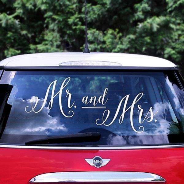 SAMOLEPKA na auto Mr. and Mrs. biela