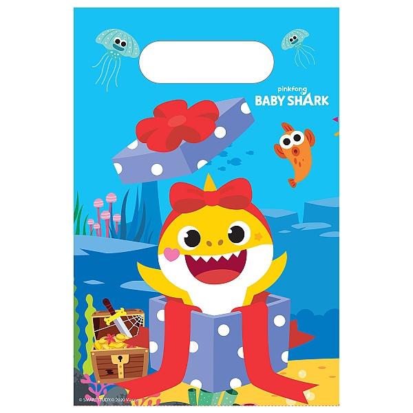TAŠKY darčekové papierové Baby Shark 23,4x16,2cm 8ks