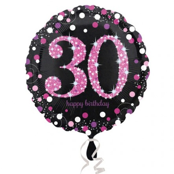 BALÓNIK fóliový 30.narodeniny čiernoružový
