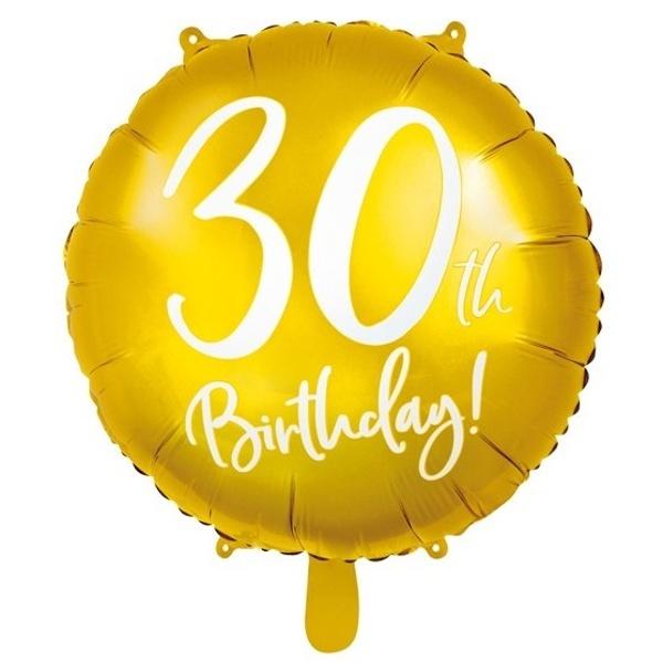 BALÓNIK fóliový 30. narodeniny zlatý s bielym nápisom