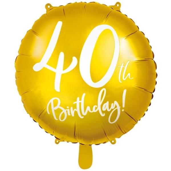 BALÓNIK fóliový 40. narodeniny guľatý zlatý