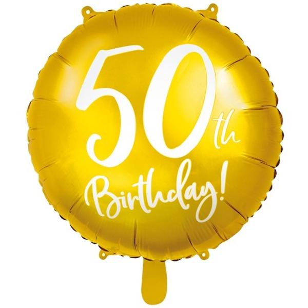 BALÓNIK fóliový 50. narodeniny zlatý s bielym nápisom