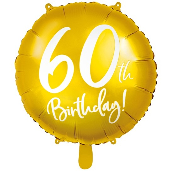 BALÓNIK fóliový 60. narodeniny zlatý s bielym nápisom