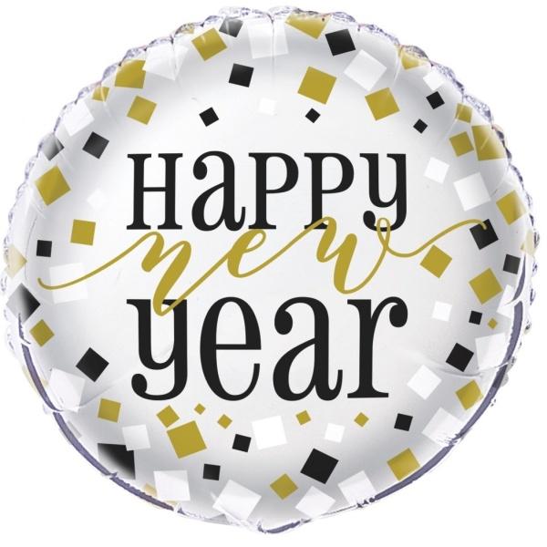 BALÓNIK fóliový Happy New Year strieborný