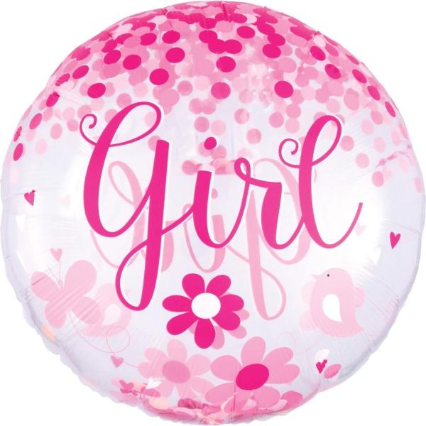 Balónik fóliový Jumbo s konfetami Baby Girl 71cm