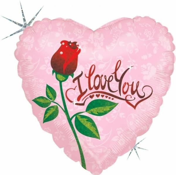 BALÓNIK fóliový Srdce s ružou 46cm