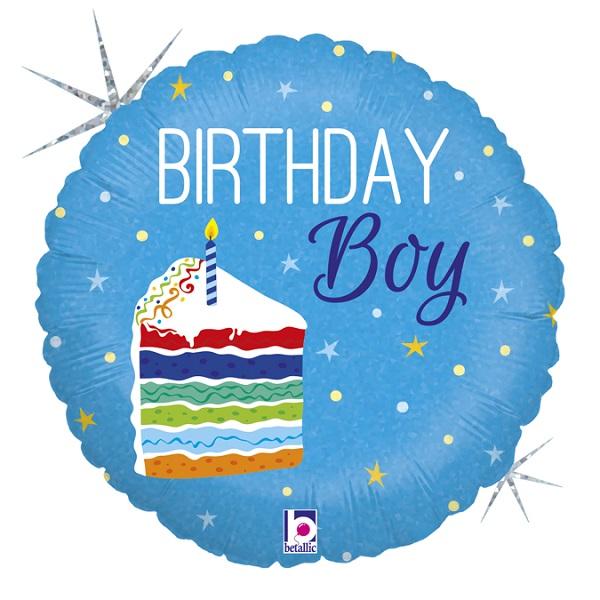 BALÓNIK fóliový holografický Birthday Boy s kusom torty 46cm