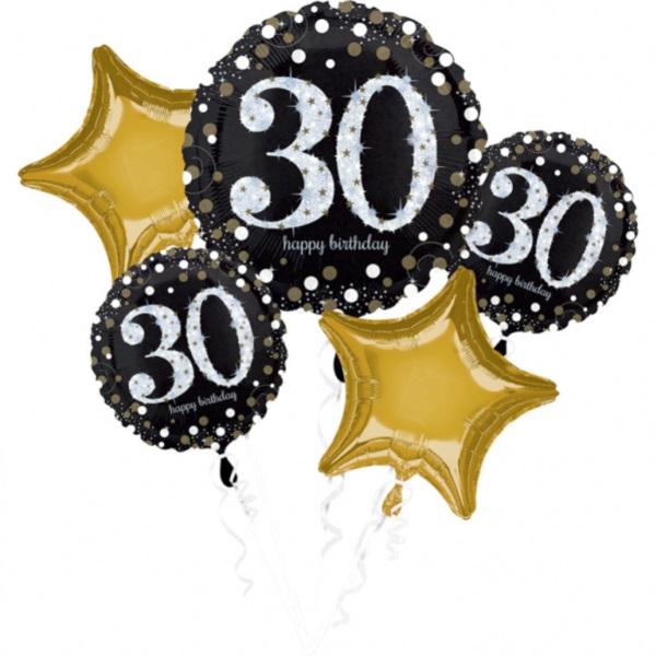 "BALÓNIKOVÝ BUKET ""30. narodeniny"" 5ks"