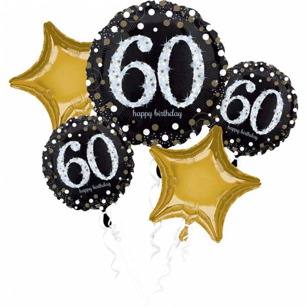 "BALÓNIKOVÝ BUKET ""60. narodeniny"" 5ks"