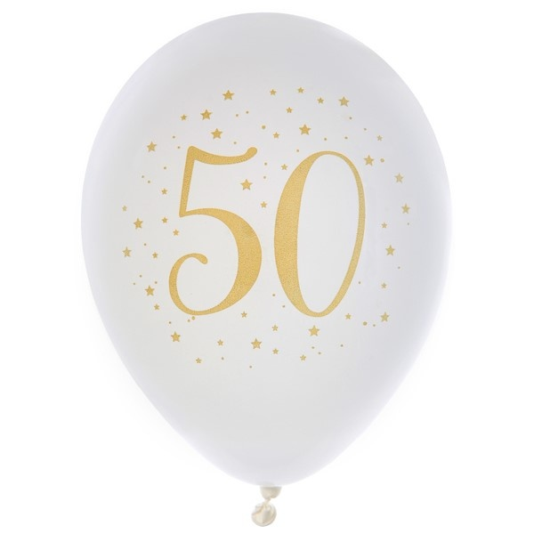 "BALÓNIKY latexové ""50"" biele 8ks"