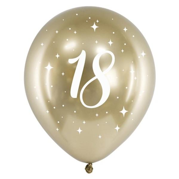 BALÓNIKY latexové chrómové 18. narodeniny zlaté 30cm 6ks
