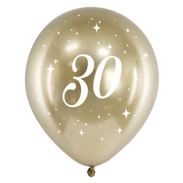BALÓNIKY latexové chrómové 30. narodeniny zlaté 30cm 6ks