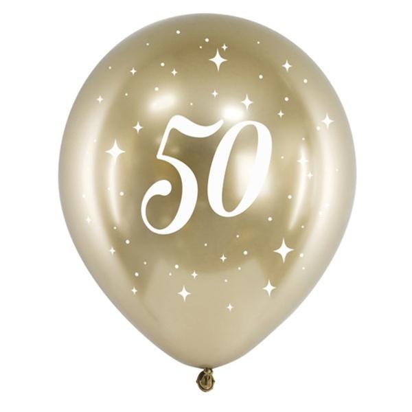 BALÓNIKY latexové chrómové 50. narodeniny zlaté 30cm 6ks