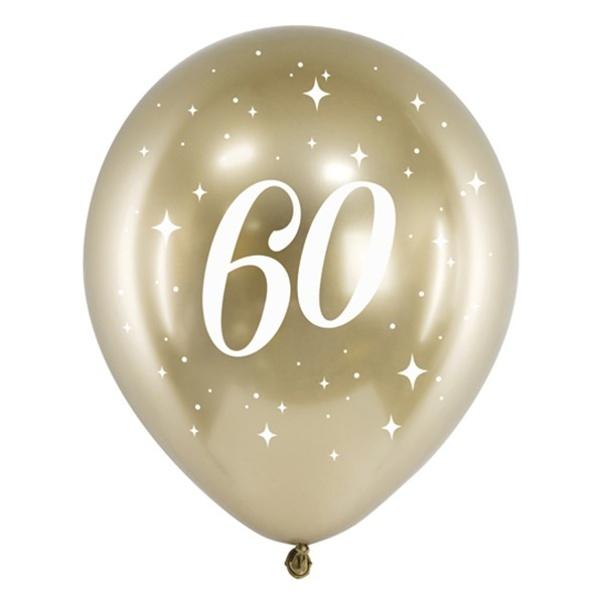 BALÓNIKY latexové chrómové 60. narodeniny zlaté 30cm 6ks