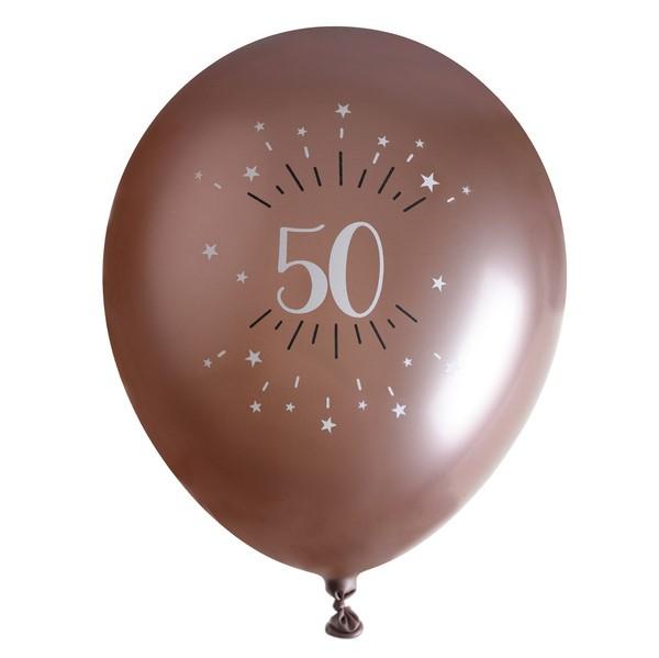 """BALÓNIKY latexové chrómové """"50"""" Rose Gold 30cm 6ks"""