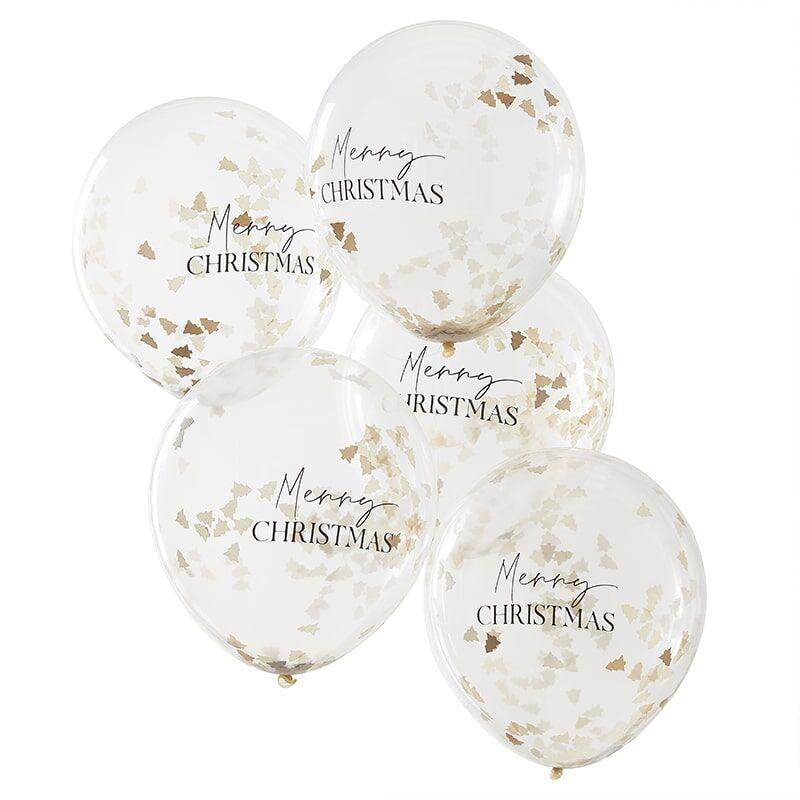 BALÓNIKY VIANOČNÉ s konfetami a nápisom Merry Christmas 5ks