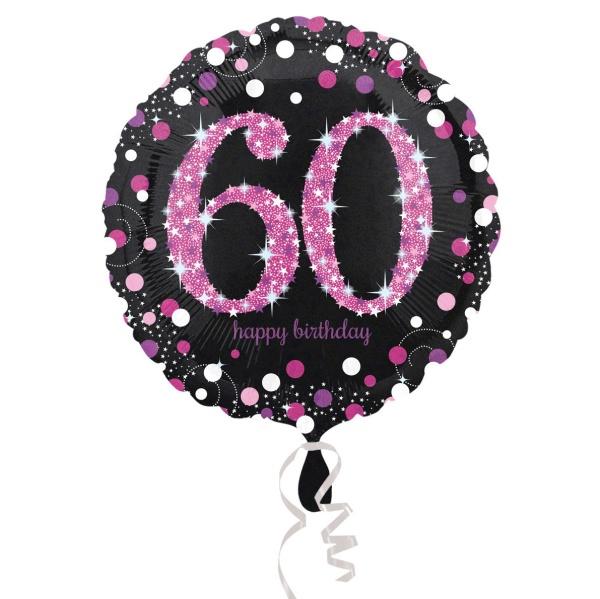 Balónik fóliový Sparkling pink narodeniny 60 čiernoružový 43 cm