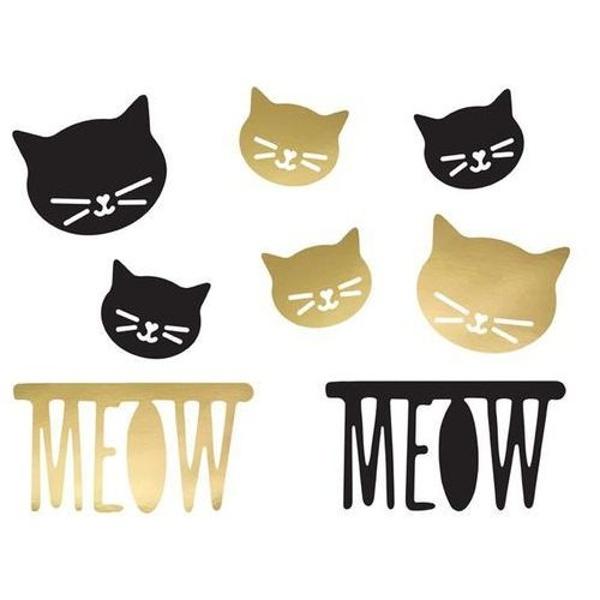 DEKORÁCIA Mačka čierna a zlatá 8ks