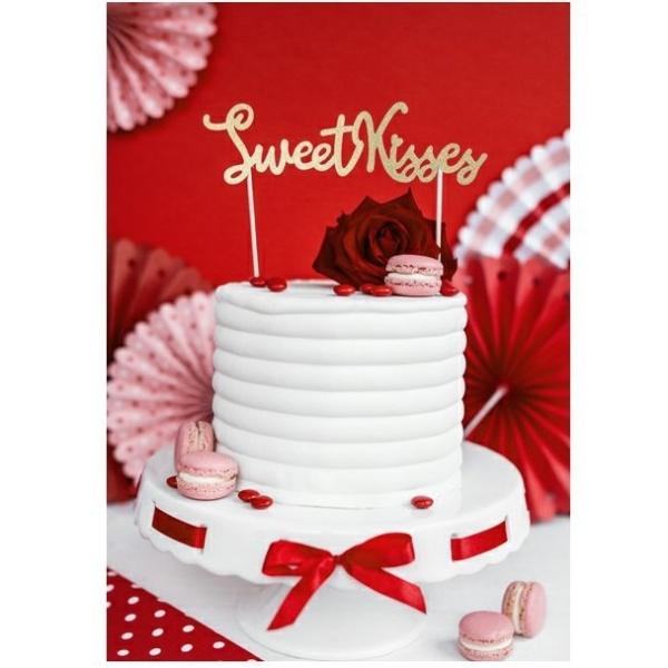 DEKORÁCIA na tortu na zapichnutie Sweet Kisses zlatá
