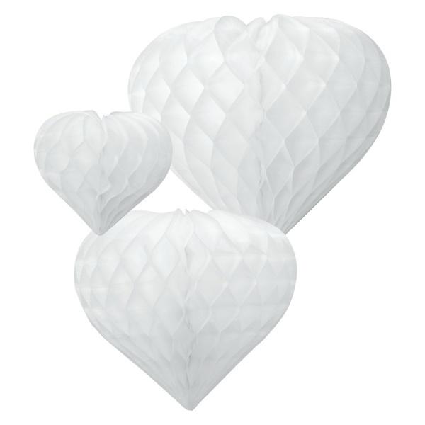 DEKORÁCIA závesná Srdce voštinové biele 3ks