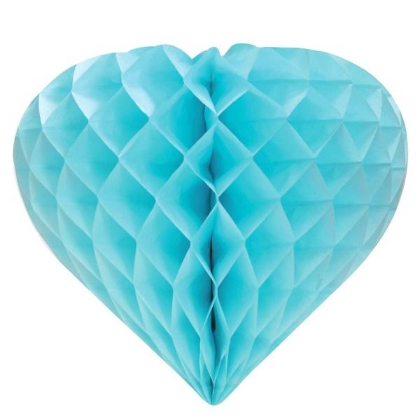 DEKORÁCIA závesná Srdce voštinové svetlo modré 26cm