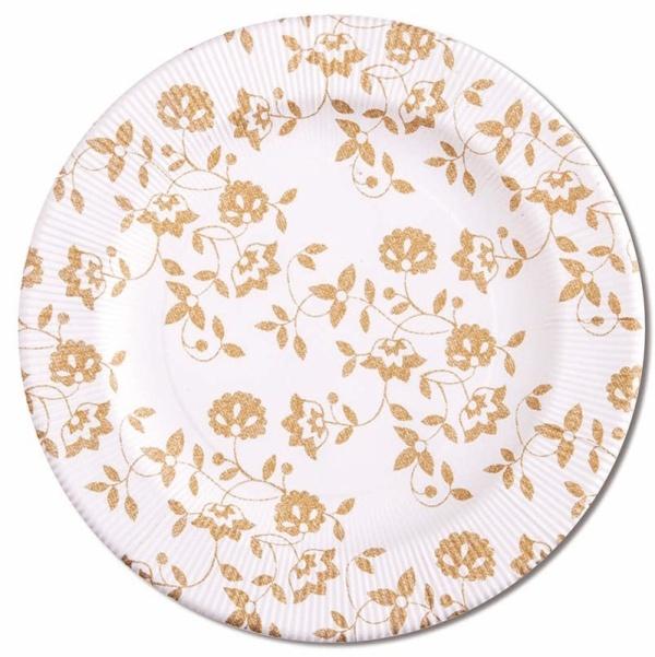 ECO TANIERE papierové Kvety zlaté 27cm 8ks