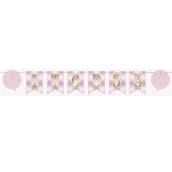 GIRLANDA vlajočková 1. narodeniny ružové káro 182cm