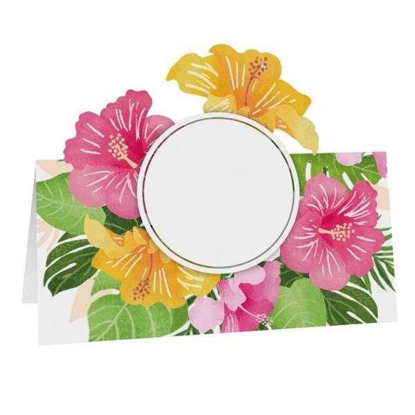 MENOVKY na stôl Tropické kvety 8x8cm 6ks