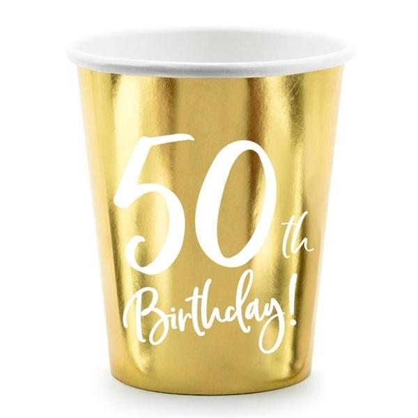 Kelímky 50. narodeniny zlaté 220ml