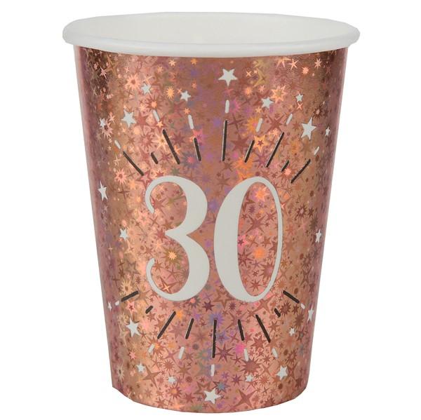 KELÍMKY papierové 30. narodeniny Rose zlaté 270ml 10ks