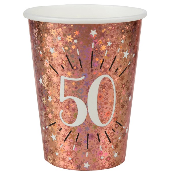 KELÍMKY papierové 50. narodeniny Rose zlaté 270ml 10ks