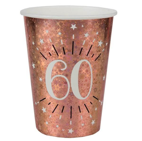 KELÍMKY papierové 60. narodeniny Rose zlaté 270ml 10ks