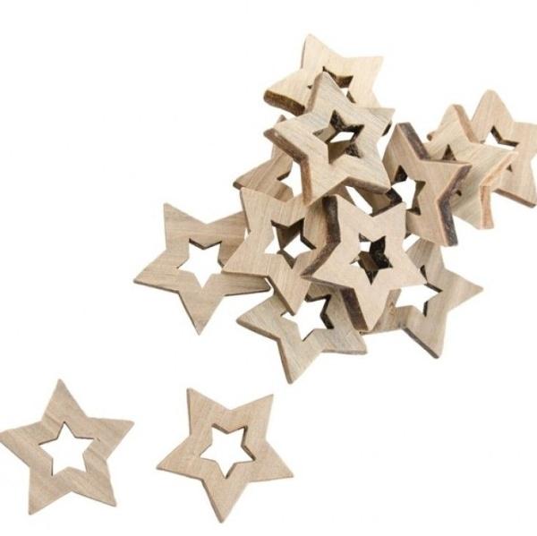 KONFETY hviezdy drevené 3cm 12ks