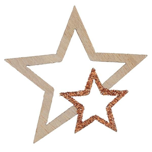 VIANOČNÉ konfety hviezdy drevené s glitrami Rose Gold 3,5x4cm 12ks