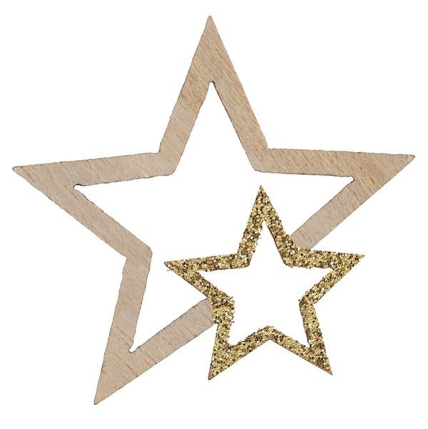 VIANOČNÉ konfety hviezdy drevené s glitrami zlaté 3,5x4cm 12ks