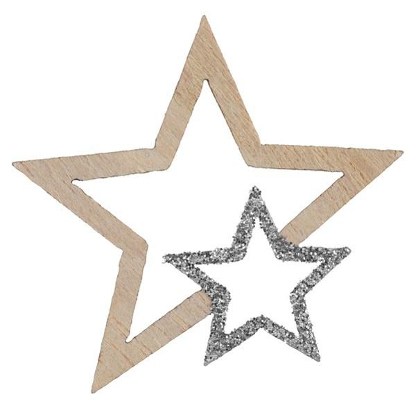 VIANOČNÉ KONFETY hviezdy drevené strieb. s glitrami 3,5x4cm 12ks