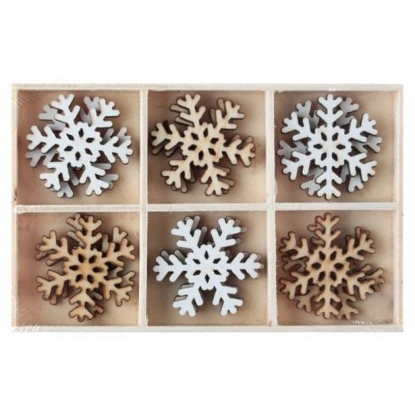 VIANOČNÉ konfety snehové vločky drevené 3x3cm 12ks