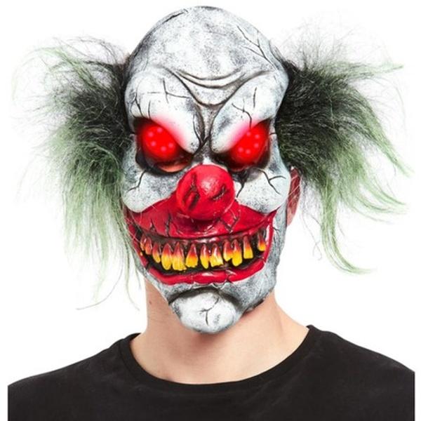 MASKA latexová Strašidelný klaun svietiace oči