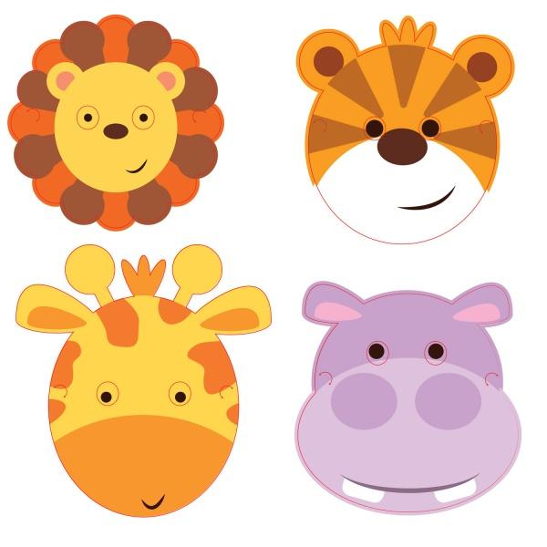 MASKY Jungle Animals papierové 8ks