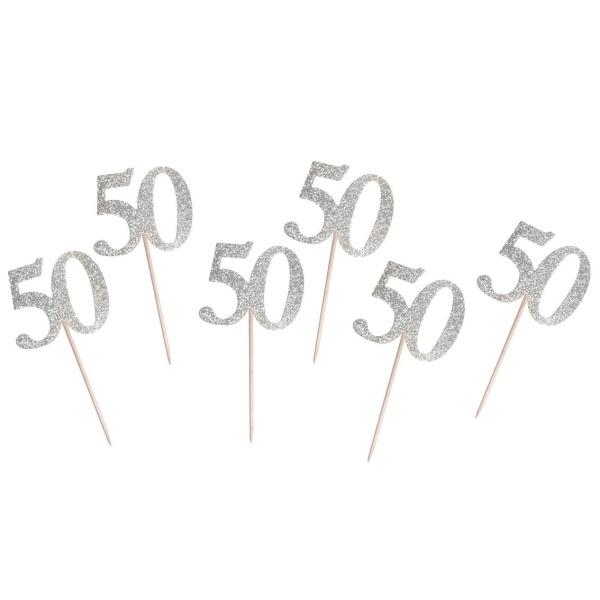 NAPICHOVÁTKA číslica 50 strieborná 10cm 6ks