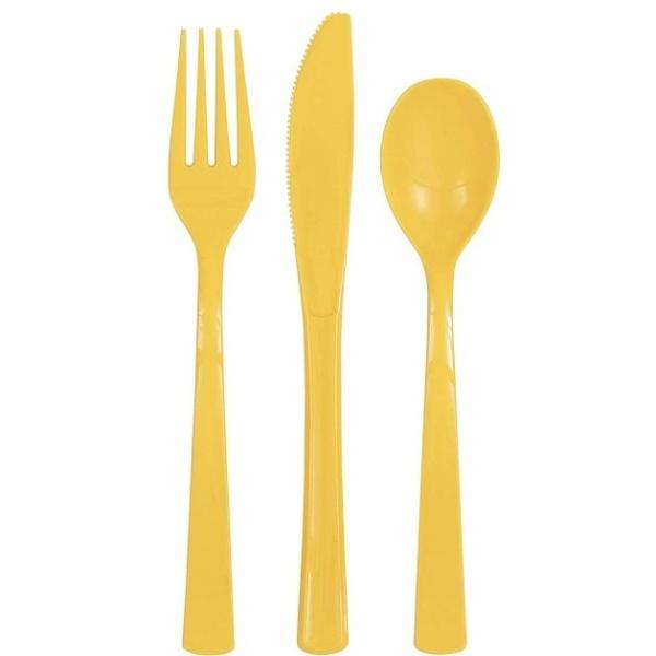 PRÍBORY plastové žlté 18ks