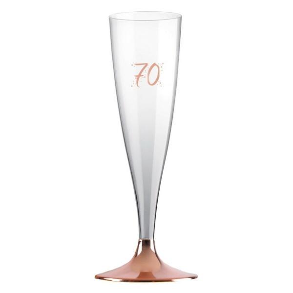 ŠAMPUSKY plastové 70. narodeniny Rose Gold 14cl 6ks