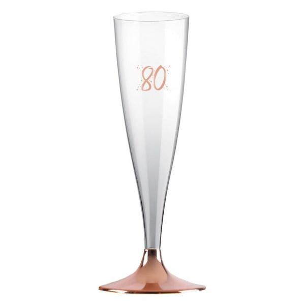 ŠAMPUSKY plastové 80. narodeniny Rose Gold 14cl 6ks