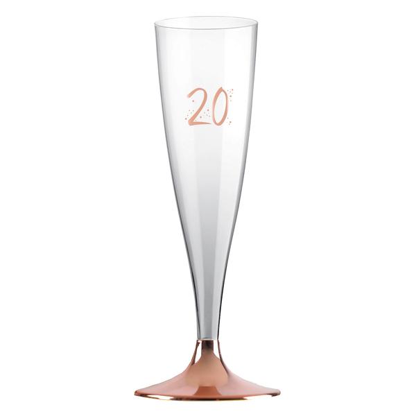 ŠAMPUSKY plastové 20. narodeniny Rose Gold 14cl 6ks